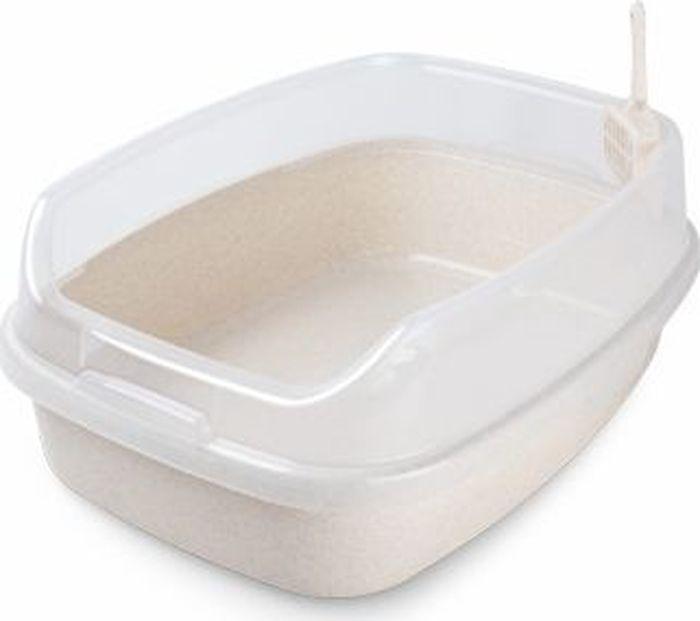 Туалет для животных  Makar , с бортом, цвет: белый, 62 х 46 х 25 см - Наполнители и туалетные принадлежности