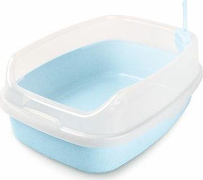 Туалет для животных  Makar , с бортом, цвет: голубой, 62 х 46 х 25 см - Наполнители и туалетные принадлежности