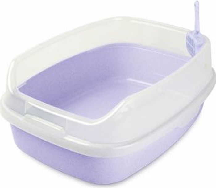 Туалет для животных  Makar , с бортом, цвет: сиреневый, 62 х 46 х 25 см - Наполнители и туалетные принадлежности