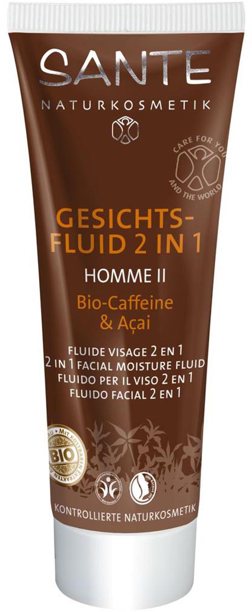 Sante Homme II Мужской флюид-лосьон 2 в 1, 50 мл42588100% натуральный флюид-лосьон Sante Homme II разработан специально для мужской кожи. Ценные масла миндаля, жожоба и чуфы, а также кофеин и ягоды асаи увлажняют кожу, насыщают ее необходимыми для регенерации компонентами, а также уменьшают раздражение кожи после бритья. Обладает терпким ароматом. • Сертификат натуральности и безопасности BDIH и NaTrue • Содержит сертифицированные органические экстракты растений и ценные масла • Без синтетических красителей, ароматизаторов или консервантов • Не содержит ПЭГ и других продуктов нефтехимии