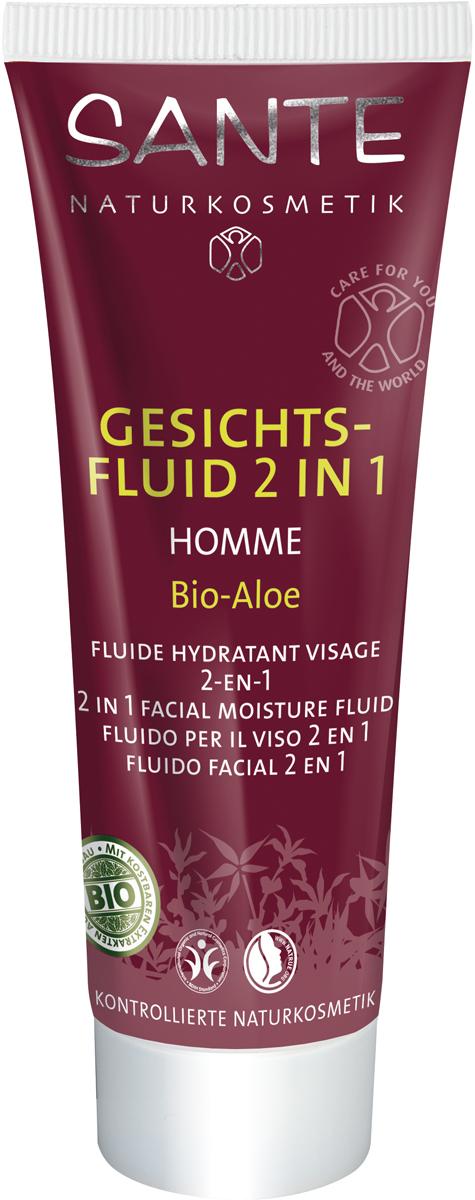 Sante Homme Мужской флюид-лосьон 2 в 1, 50 мл42582100% натуральный флюид-лосьон Sante Homme разработан специально для мужской кожи. Ценные масла миндаля, жожоба, миндаля и ши, а также экстракт ромашки и сок алоэ увлажняют кожу, насыщают ее необходимыми для регенерации компонентами, а также уменьшают раздражение кожи после бритья.• Сертификаты натуральности и безопасности BDIH и NaTrue • Содержит сертифицированные органические экстракты растений и ценные масла • Без синтетических красителей, ароматизаторов или консервантов • Не содержит ПЭГ и других продуктов нефтехимии