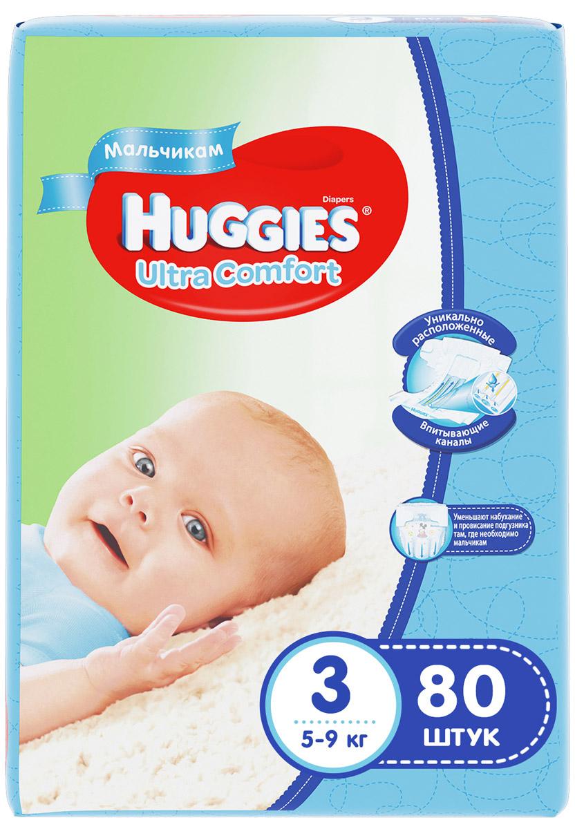 Huggies Подгузники для мальчиков Ultra Comfort 5-9 кг (размер 3) 80 шт