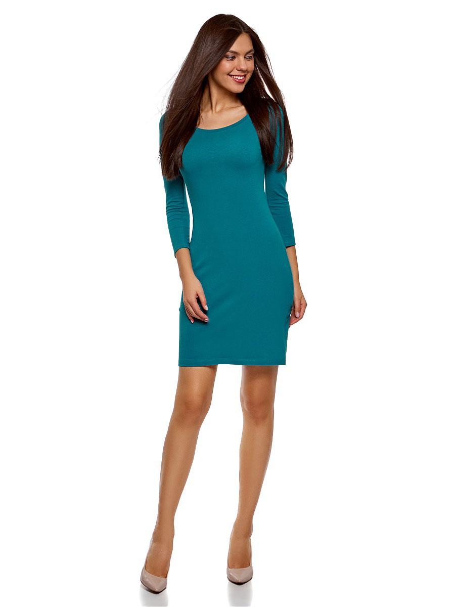 Купить Платье oodji Ultra, цвет: бирюзовый. 14001193B/47420/7300N. Размер S (44)
