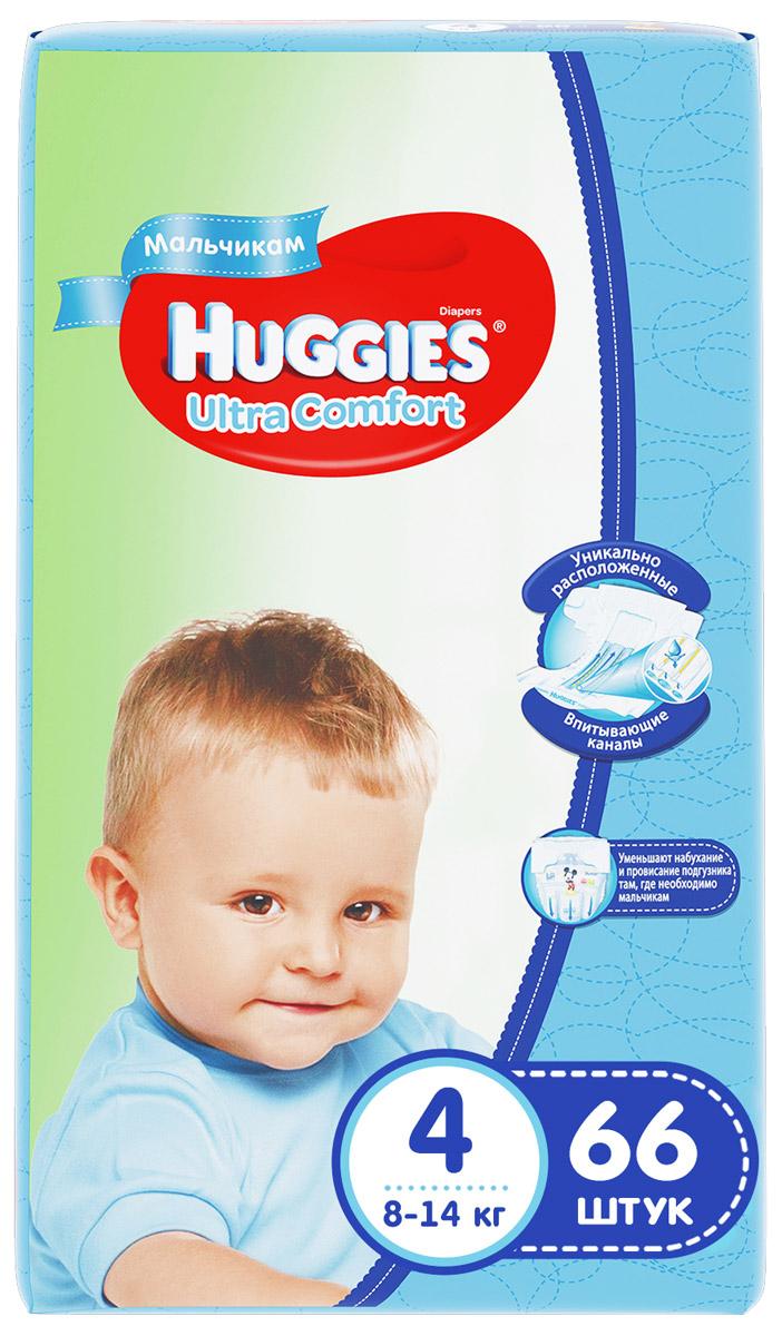 Huggies Подгузники для мальчиков Ultra Comfort 8-14 кг (размер 4) 66 шт - Подгузники и пеленки