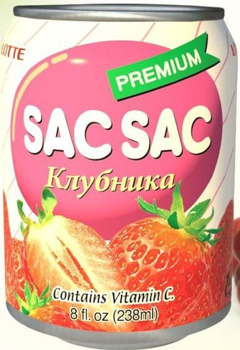 Lotte Сак-Сак Напиток негазированный сокосодержащий из клубничного сока, 238 мл запонки lotte