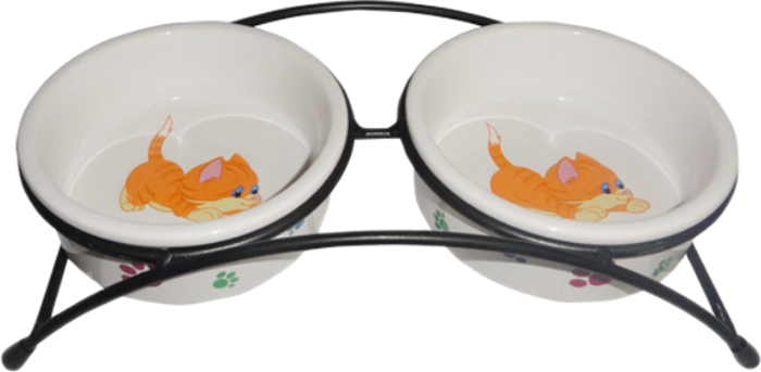 Миска для животных №1, двойная, с подставкой, 28 х 14 х 7 смМКР845Керамическая миска для кошек. Проста в использовании, гигиенична и долговечна. Антибактериальные свойства. Не впитывает жир и запах. Нетоксична. Рассчитана на длительное активное использование.