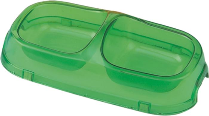 Миска для животных №1, двойная, цвет: прозрачный, 2 х 200 млДм851Миска изготовлена из пластика, нетоксичного прочного материала, который легко моется, не бьется и не подвержен коррозии.