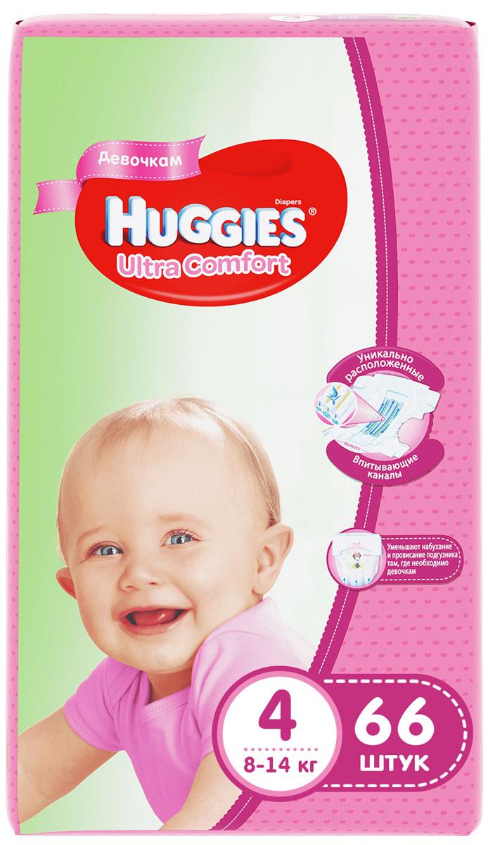 Huggies Подгузники для девочек Ultra Comfort 8-14 кг (размер 4) 66 шт