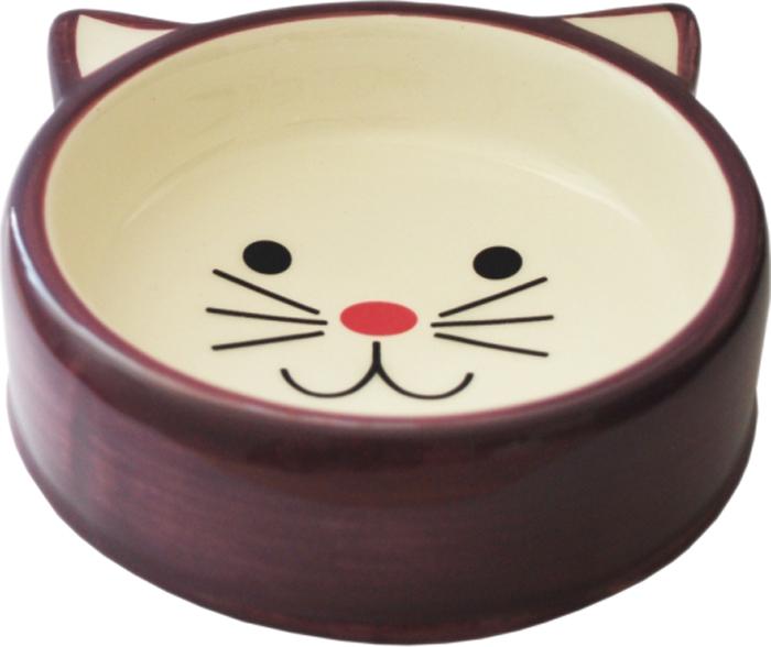 Миска для животных №1, цвет: бордовый, 120 млМКР4015-1Керамическая миска для кошек. Проста в использовании, гигиенична и долговечна. Антибактериальные свойства. Не впитывает жир и запах. Нетоксична. Рассчитана на длительное активное использование.