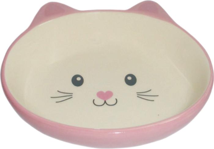 Миска для животных №1, цвет: розовый, 14 х 12,5 х 3,5 см миска для кошек собак гамма n0