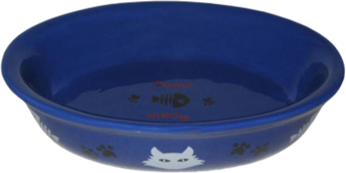 Миска для животных №1, цвет: синий, 15 х 10 х 3,5 см миска для кошек собак гамма n0