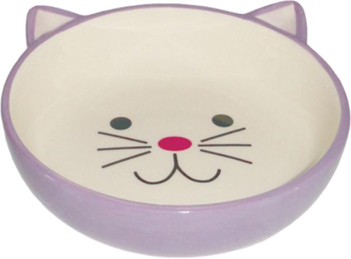 Миска для животных №1, цвет: сиреневый, 12,5 х 12,5 х 4 смМКР802Керамическая миска для кошек. Проста в использовании, гигиенична и долговечна. Антибактериальные свойства. Не впитывает жир и запах. Нетоксична. Рассчитана на длительное активное использование.