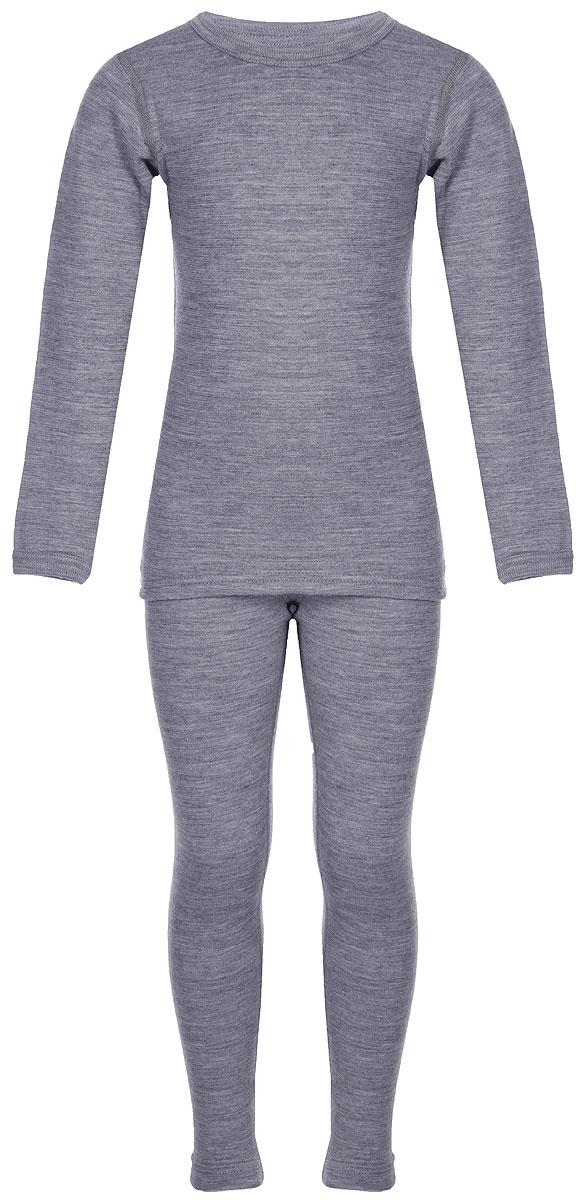 Комплект термобелья детский Dr. Wool: лонгслив, кальсоны, цвет: серый меланж. DWKА 30102. Размер 82/88DWKА 30102Комплект термобелья Dr. Wool, состоящий из лонгслива и брюк незаменим в холодную погоду. Для еще большего комфорта резинка, манжеты и швы сделаны мягкими, поэтому не вызывают раздражения кожи. Изделие облегает, поэтому его можно носить в качестве первого слоя. Переохлаждение и перегрев вас не побеспокоят благодаря воздушной структуре волокна.