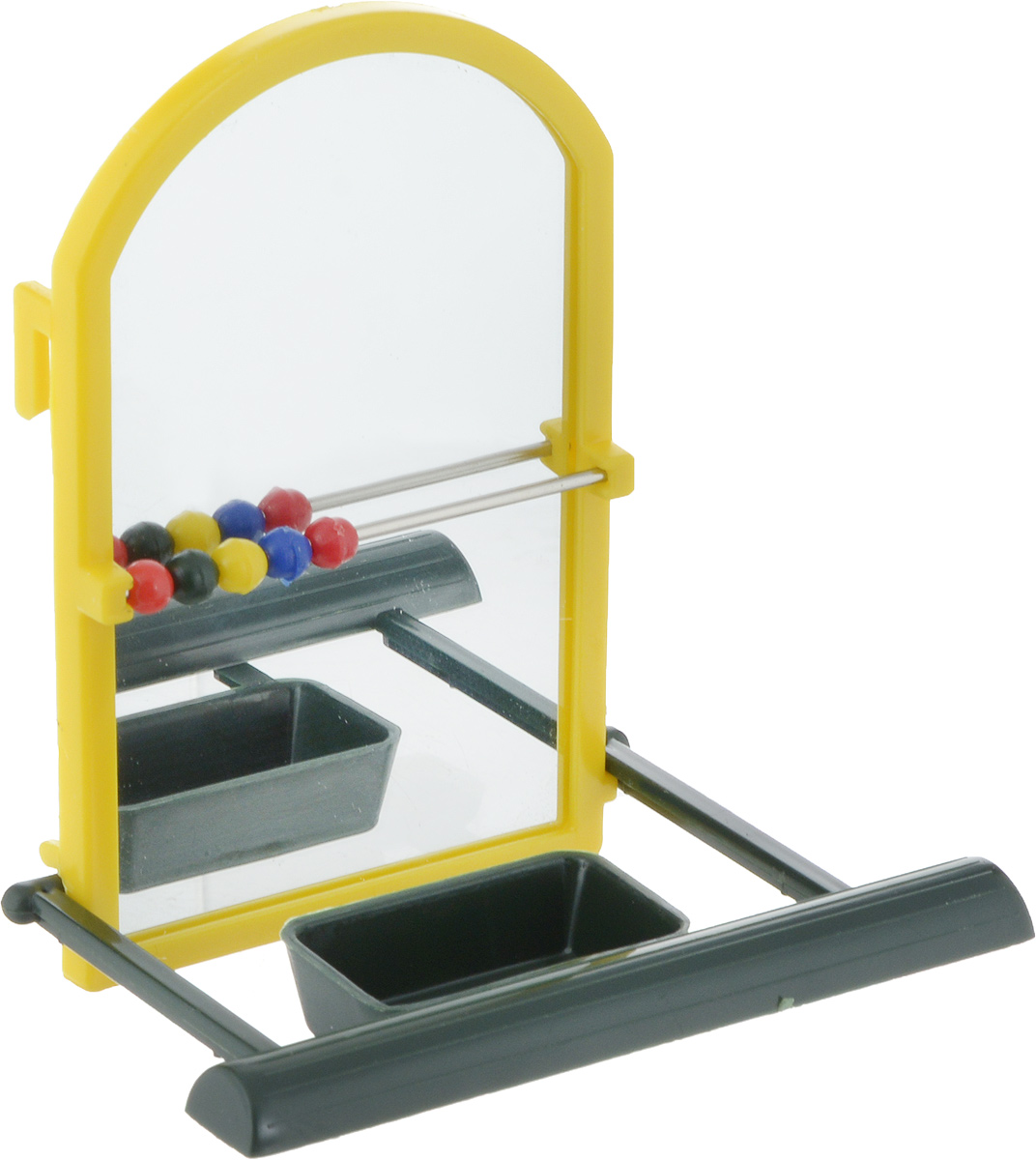 Игрушка для попугая Trixie Зеркало, с жердочкой, цвет: желтый, 9 см