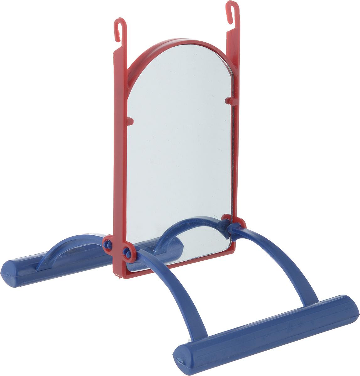 Зеркало для попугая Trixie, цвет: синий, красный, вид 2, 13 см trixie шлейка trixie для собак размер s m 35 60 см 15 мм синяя