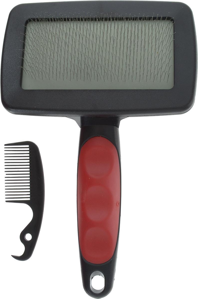 Набор  Trixie , пуходерка, расческа, цвет: черный, красный, 19 х 12 см - Товары для ухода (груминг)