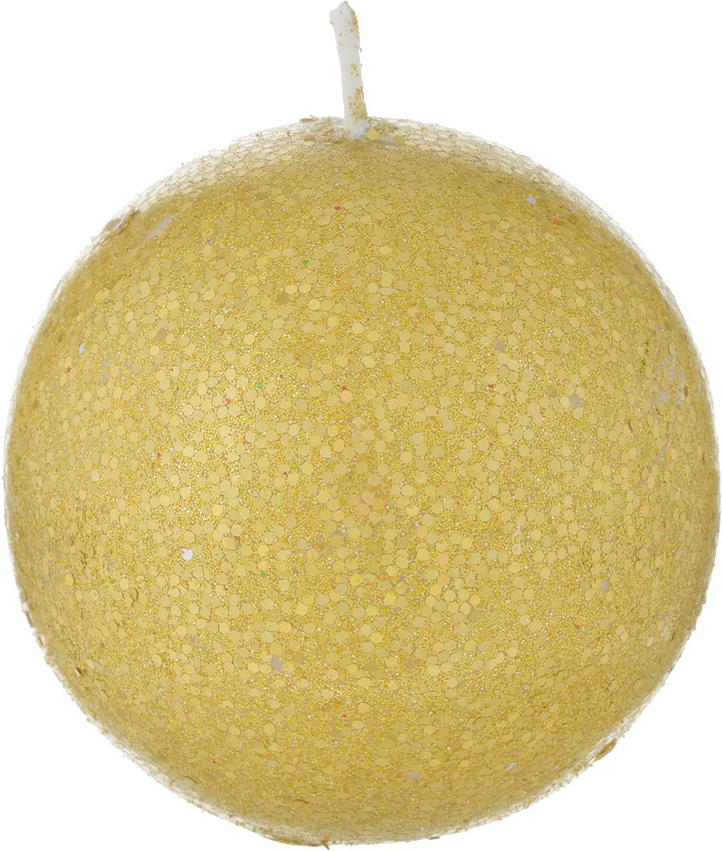 Свеча-шар B&H, с блестками, цвет: золотой, диаметр 6,3 смBH1038_ золотойСвеча-шар изготовлена из парафина и декорирована блестками. Такая свечастанет изысканным украшением интерьера. Она принесет в ваш дом волшебство иощущение праздника. Создайте в своем доме атмосферу веселья и радости, итогда самый обычный день с легкостью превратится в торжество.Свеча упакована в золотой поддон.