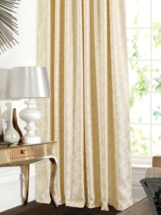 Штора Garden, на ленте, цвет: золотисто-молочный, высота 260 см. С 537643 V1С 537643 V1Штора для гостиной, выполнена из жаккарда с рисунком вензель золотисто цвета. Высокая прочность и износоустойчивость используемых тканей надолго сохранят первоначальный вид изделия. Приятная текстура и цвет штор привлекут к себе внимание и органично впишутся в интерьер помещения.Штора крепится на карниз при помощи ленты, которая поможет красиво и равномерно задрапировать верх.