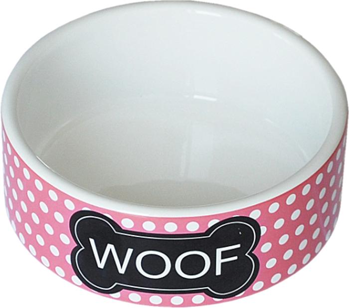 Миска для животных №1 Woof, цвет: белый, розовый, 12,5 х 12,5 х 5 см миска для кошек собак гамма n0