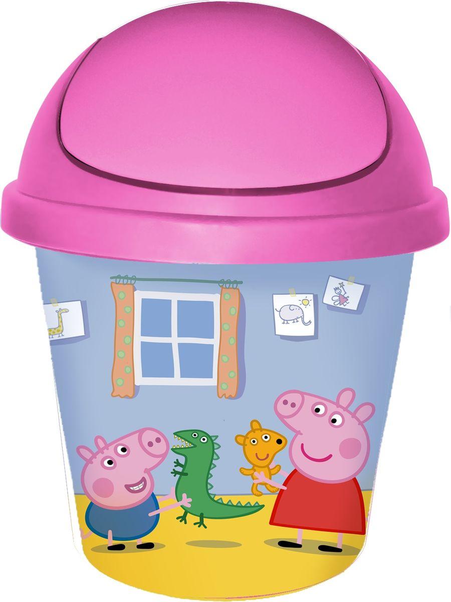 Корзина для мусора Little Angel Свинка Пеппа, цвет: розовый, 7 л little angel мусорная корзина круглая 7 л city cars little angel голубой