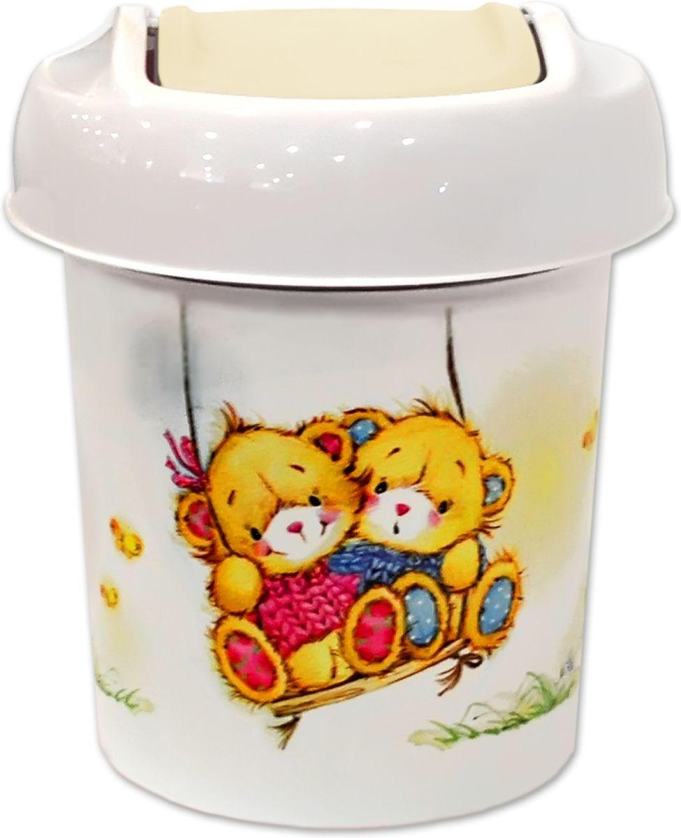 Корзина для мусора Little Angel Bears, цвет: слоновая кость, 1 л little angel комод для детской комнаты bears 610мм комбинированный слоновая кость