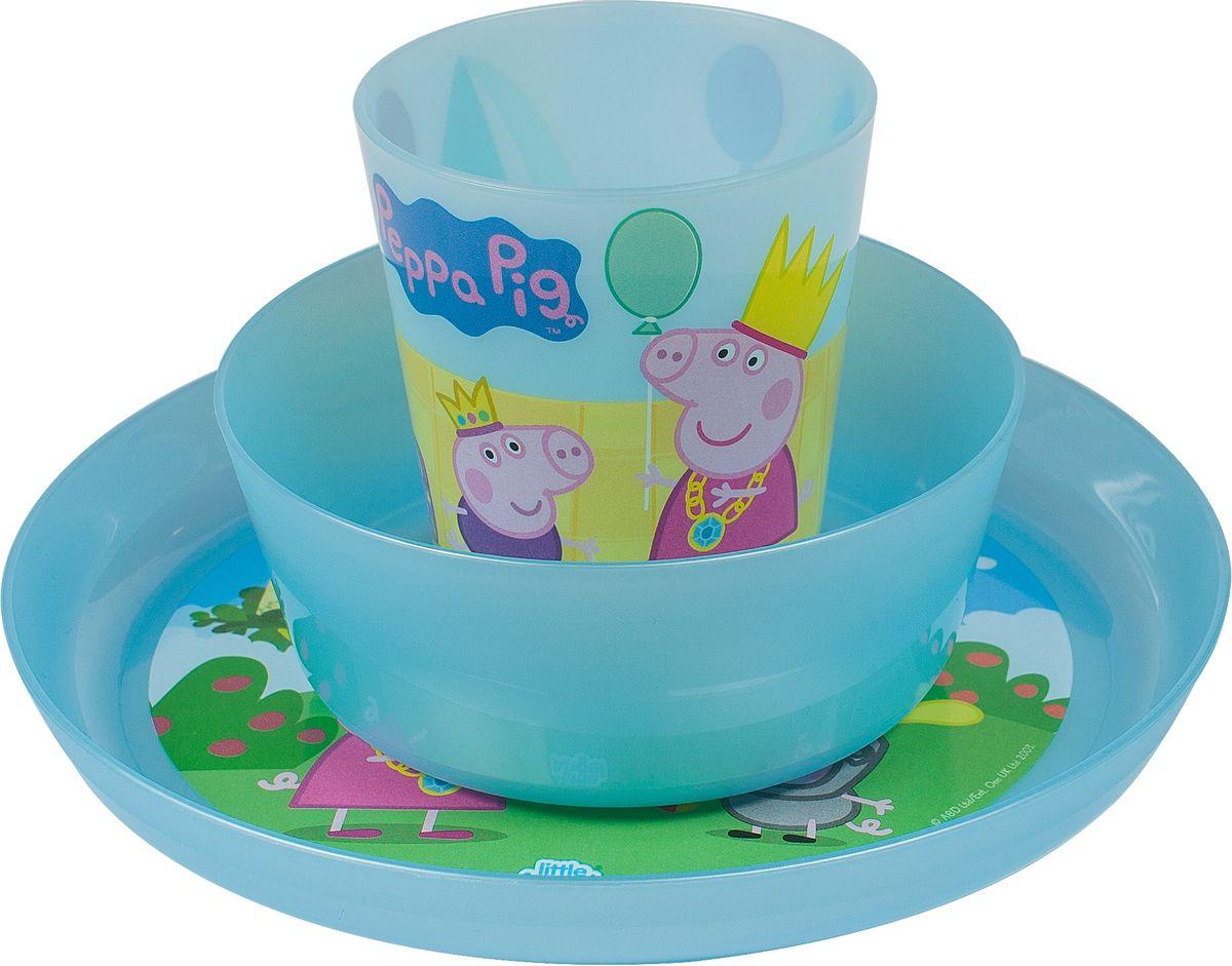 Little Angel Набор детской посуды Свинка Пеппа цвет голубой 3 предметаLA1056ГЛ