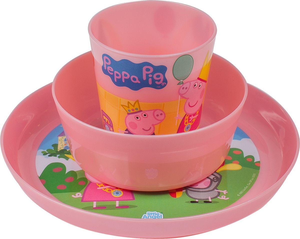 Little Angel Набор детской посуды Свинка Пеппа цвет розовый 3 предмета