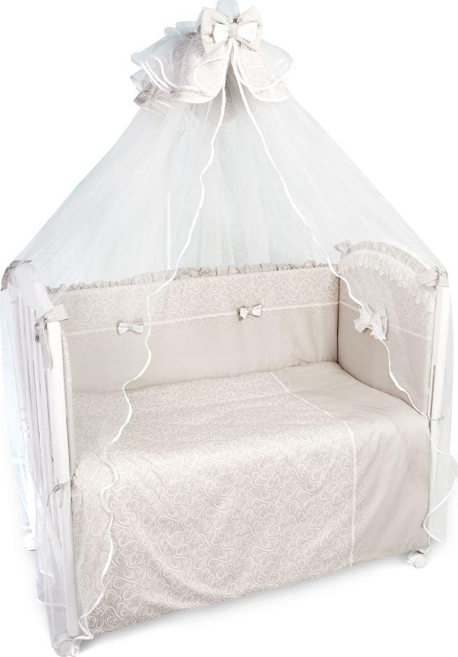 Сонный гномик Комплект белья для новорожденных Версаль цвет темно-бежевый 7 предметов718Детское постельное белье в кроватку для новорожденных Версаль - это превосходный комплект, сочетающий в себе натуральный и мягкий материал, который не вызовет аллергии у вашего малыша и ненавязчивый, но в то же время стильный и современный дизайн, который будет радовать глаз как малыша, так и его родителей.Комплект в кроватку для новорожденных из 7 предметов будет очень практичным и выгодным вариантом для тех, кто хочет приобрести всю необходимую комплектацию для кроватки в прекрасном качестве и сформировать гнездышко для своего малыша в едином стиле.Комплектация: наволочка, подушка, простынь на резинке, балдахин, пододеяльник, одеяло, борт со съемным чехлом на молнии из 4 частей для кроватки 120 х 60 см.Размер наволочки: 60 х 40 см. Размер подушки: 60 х 40 см. Размер простыни: 118 х 158 см. Размер пододеяльника: 110 х 144 см. Размер одеяла: 110 х 140 см. Размер борта: 360 х 43 см. Размер балдахина: 450 х 180 см. Материал балдахина: сетка (100% полиэстер). Наполнитель подушки: бамбук (плотность 200 г/м2). Наполнитель одеяла: бамбук (плотность 250 г/м2). Наполнитель борта: холлофайбер хард (плотность 400 г/м2).