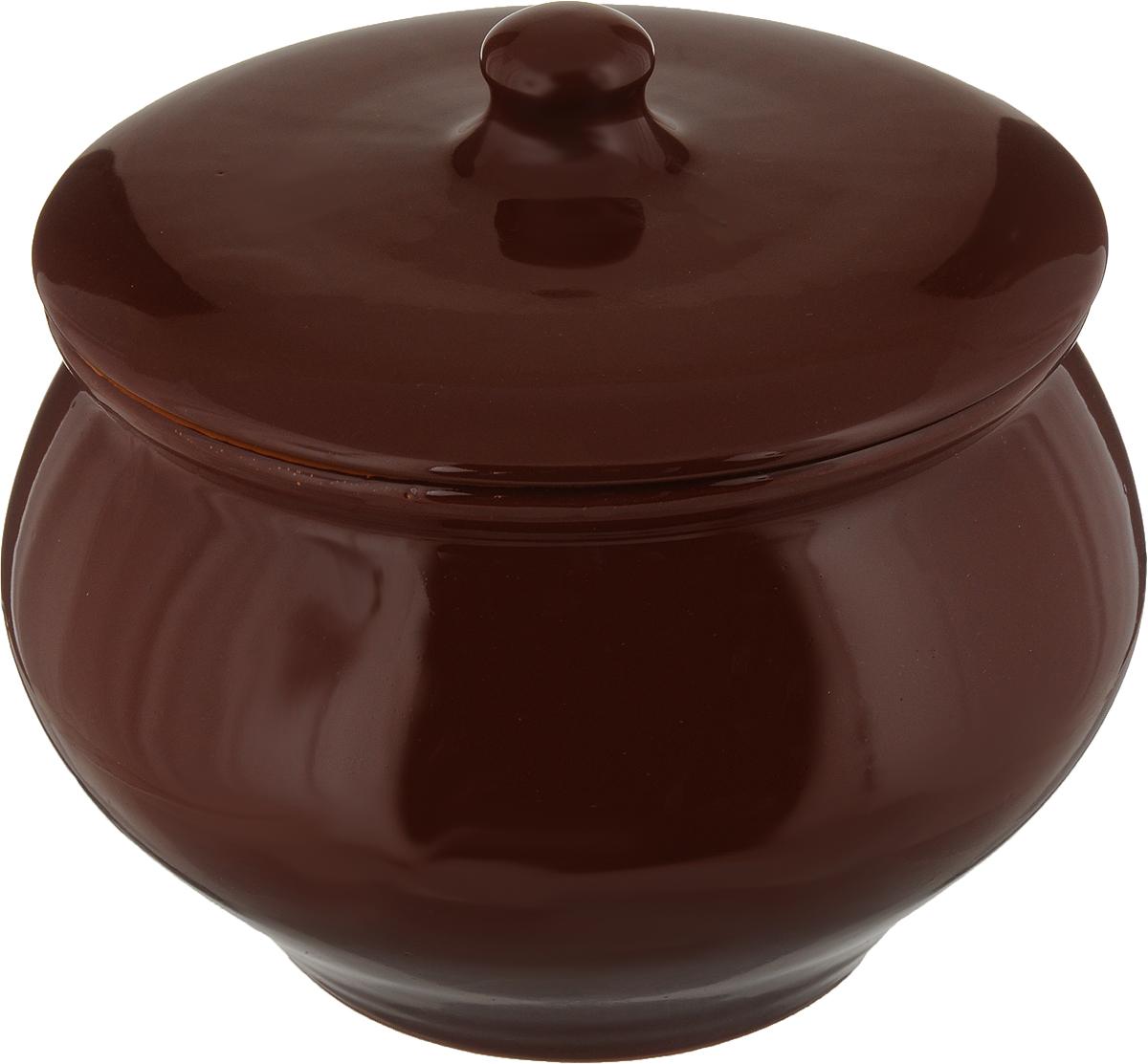 """Горшочек для запекания Борисовская керамика """"Радуга"""", цвет: коричневый, 1,3 л"""