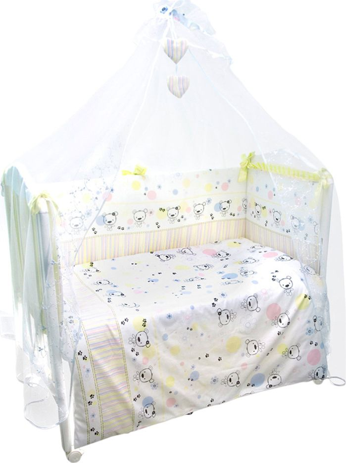 """Комплект белья в детскую кроватку """"Конфетти"""" - это превосходный комплект, сочетающий в себе натуральный и мягкий материал, который не вызовет аллергии у вашего малыша и ненавязчивый, но в то же время стильный и современный дизайн, который будет радовать глаз как малыша, так и его родителей. Комплектация: наволочка, подушка, простынь на резинке, балдахин, пододеяльник, одеяло, борт со съемным чехлом на молнии из 4 частей для кроватки 120 х 60 см.   Размер наволочки: 60 х 40 см. Размер подушки: 60 х 40 см. Размер простыни: 100 х 143 см. Размер пододеяльника: 112 х 148 см. Размер одеяла: 110 х 140 см. Размер борта: 360 х 52 см.  Размер балдахина: 450 х 180 см.  Материал балдахина: сетка (100% полиэстер).  Наполнитель подушки: бамбук (плотность 200 г/м2). Наполнитель одеяла: бамбук (плотность 250 г/м2). Наполнитель борта: холлофайбер хард (плотность 400 г/м2)."""