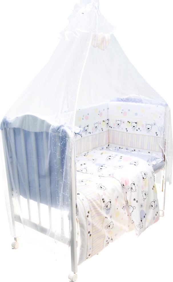 Сонный гномик Комплект белья для новорожденных Конфетти цвет голубой 7 предметов714/1Комплект белья в детскую кроватку Конфетти - это превосходный комплект, сочетающий в себе натуральный и мягкий материал, который не вызовет аллергии у вашего малыша и ненавязчивый, но в то же время стильный и современный дизайн, который будет радовать глаз как малыша, так и его родителей. Комплектация: наволочка, подушка, простынь на резинке, балдахин, пододеяльник, одеяло, борт со съемным чехлом на молнии из 4 частей для кроватки 120 х 60 см. Размер наволочки: 60 х 40 см. Размер подушки: 60 х 40 см. Размер простыни: 100 х 143 см. Размер пододеяльника: 112 х 148 см. Размер одеяла: 110 х 140 см. Размер борта: 360 х 52 см.Размер балдахина: 450 х 180 см.Материал балдахина: сетка (100% полиэстер).Наполнитель подушки: бамбук (плотность 200 г/м2). Наполнитель одеяла: бамбук (плотность 250 г/м2). Наполнитель борта: холлофайбер хард (плотность 400 г/м2).