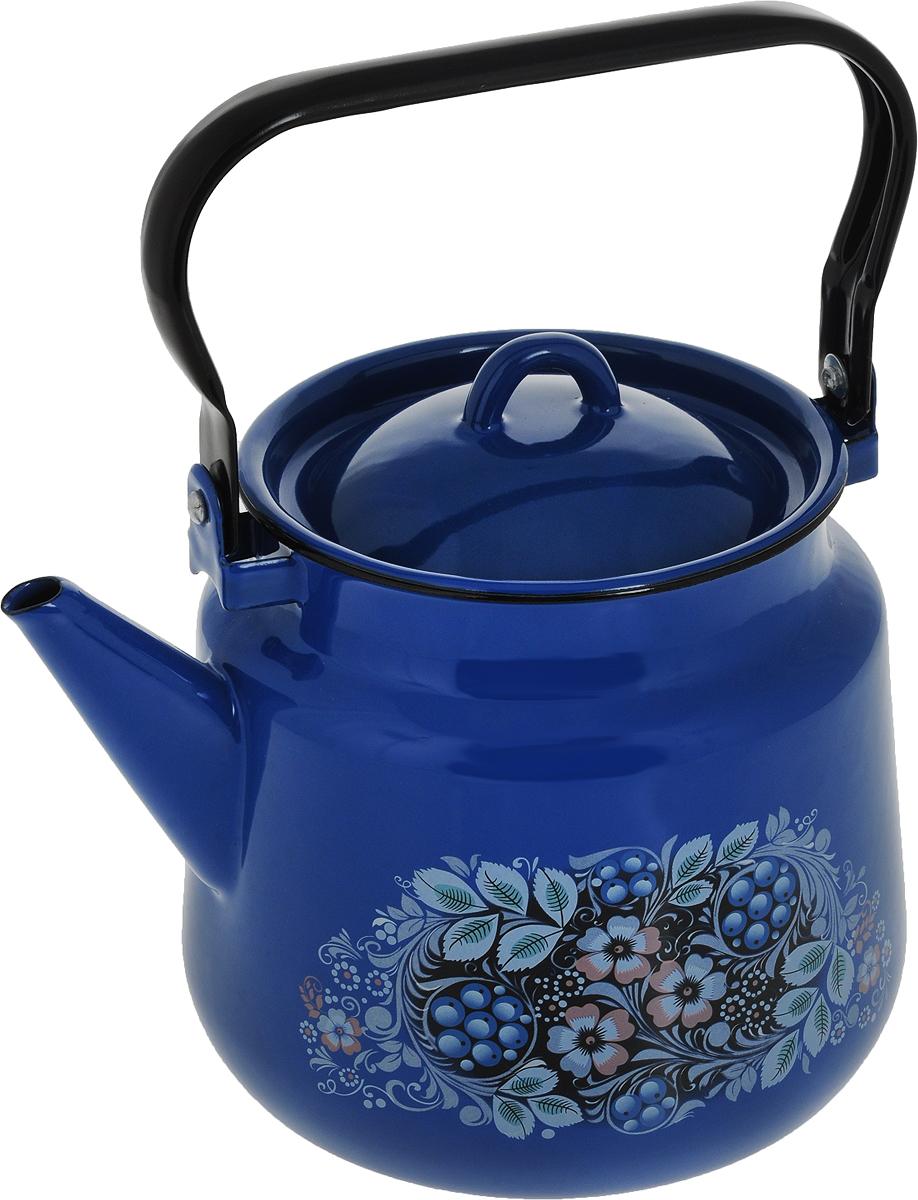 Чайник СтальЭмаль, цвет: синий, 3,5 л. 1с26/я1с26/с_синийЧайник СтальЭмаль выполнен из высококачественного стального проката, покрытого двумя слоями жаропрочной эмали. Такое покрытие защищает сталь от коррозии, придает посуде гладкую стекловидную поверхность и надежно защищает от кислот и щелочей. Чайник оснащен подвижной стальной ручкой и крышкой с пластиковой ручкой. Внешние стенки декорированы изображением цветов. Эстетичный и функциональный чайник будет оригинально смотреться в любом интерьере. Подходит для газовых, электрических, стеклокерамических, галогенных, индукционных плит. Можно мыть в посудомоечной машине. Диаметр (по верхнему краю): 15 см.Высота чайника (без учета ручки и крышки): 17 см.