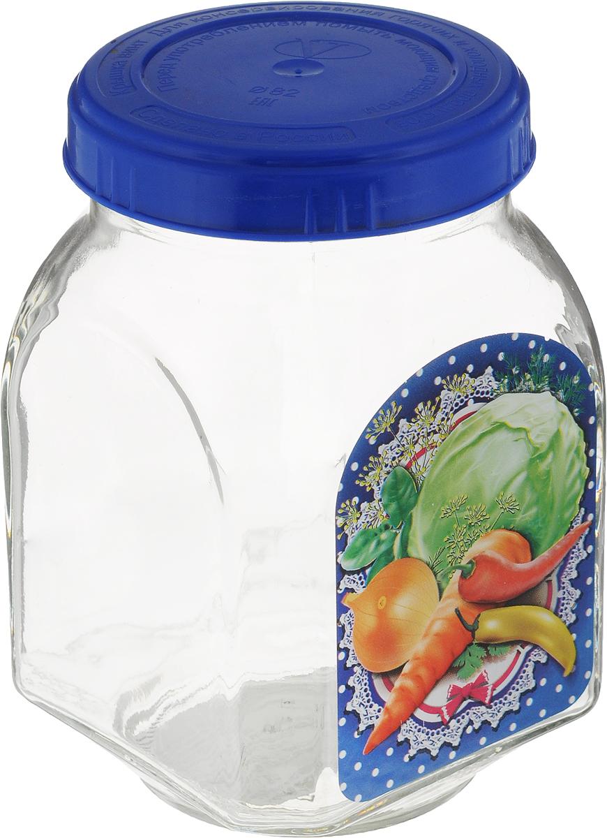 Банка для хранения Квестор, c крышкой, цвет: синий, 800 мл626-027_синийБанка Квестор, изготовленная из стекла, прекрасно подойдет для консервирования и хранения салатов, закусок. Внешние стенки оформлены изображением овощей. Емкость снабжена пластиковой крышкой, которая плотно и герметично закрывается, дольше сохраняя аромат и свежесть содержимого. Банка Квестор станет полезным приобретением и пригодится на любой кухне.Высота банки: 14 см.Диаметр (по верхнему краю): 7,5 см.