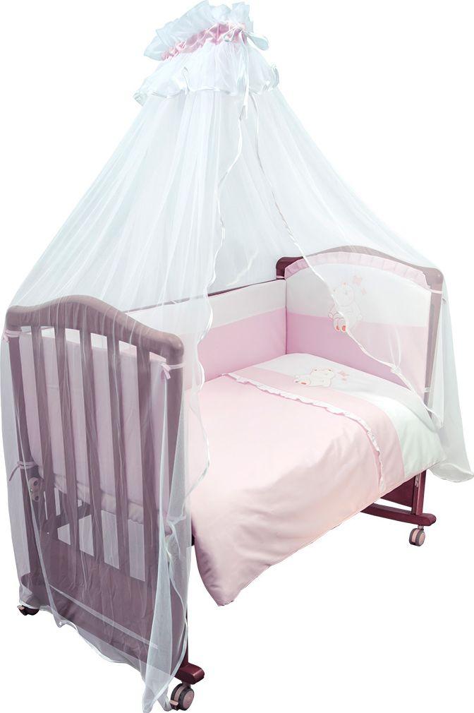 Сонный гномик Комплект белья для новорожденных Пушистик цвет розовый 7 предметов710/2Детское постельное белье в кроватку Пушистик - это превосходный комплект, сочетающий в себе натуральный и мягкий материал, который не вызовет аллергии у вашего малыша и ненавязчивый, но в то же время стильный и современный дизайн, который будет радовать вас и вашего малыша. Постельное белье для детской кроватки Пушистик обладает отличной износостойкостью, выдерживает частые стирки и прослужит вам долгие годы, ведь оно выполнено из лучших европейских тканей, сертифицированных в Германии и сделано с любовью и заботой о самых маленьких. Комплектация: наволочка, подушка, балдахин, простынь на резинке, пододеяльник, одеяло, борт со съемным чехлом на молнии из 4 частей для кроватки 120 х 60 см. Размер наволочки: 60 х 40 см.Размер подушки: 60 х 40 см.Размер простыни: 100 х 140 см.Размер пододеяльника: 110 х 140 см.Размер одеяла: 110 х 140 см.Размер борта: 360 х 38 см.Размер балдахина: 440 см.Материал балдахина: сетка (100% полиэстер).Наполнитель подушки: бамбук (плотность 200 г/м2).Наполнитель одеяла: бамбук (плотность 250 г/м2).Наполнитель борта: холлофайбер хард (плотность 400 г/м2).