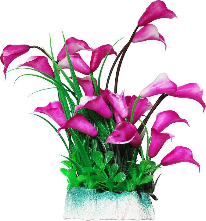 Растение для аквариума Уют лиловые цветы, высота 24 см уют