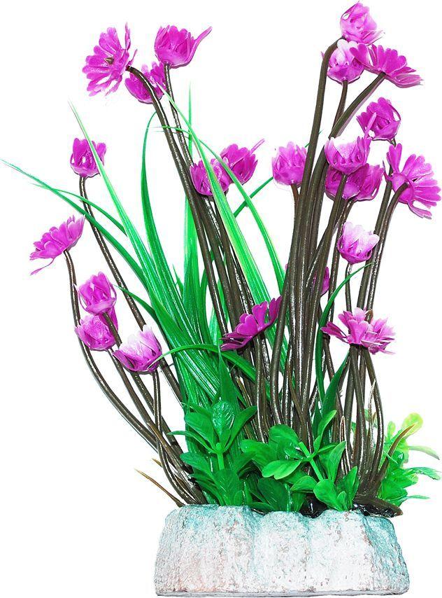 Растение для аквариума Уют Гемиантус с лиловыми цветами, высота 24 см уют