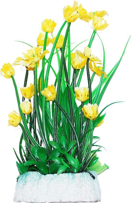 Растение для аквариума Уют Гемиантус с желтыми цветами, высота 24 см растение еда для рыб 5 букв