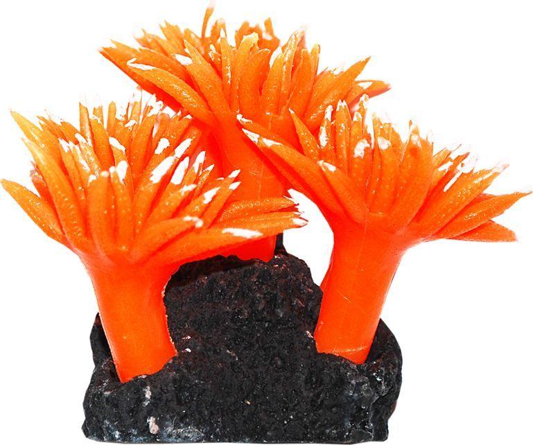 Коралл для аквариума Уют Актинии оранжевые, силиконовый, высота 10 см уют
