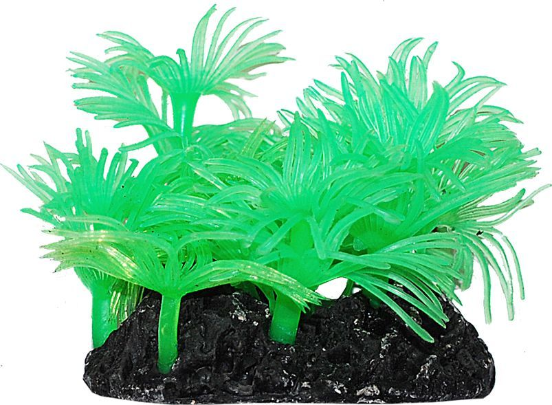 Коралл для аквариума Уют Актинии Солнечные зеленые, силиконовый, высота 10 см уют
