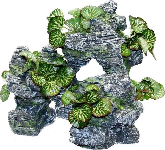 Грот для аквариума №1, с растениями