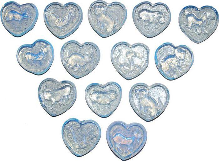 Лунный камень №1 Сердечко со знаками восточного гороскопа, для аквариумаЕГр60305-4Лунный камень в форме сердца