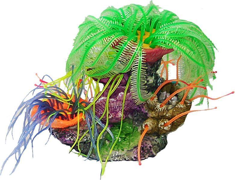 Коралл для аквариума №1 Волшебный цветок, 18 х 11,5 х 15 смЕК145Д/1Декоративный коралл №1 отличный аксессуар, который украсит ваш домашний аквариум.Коралл не наносит вред обитателям аквариума. Изготовлено из искусственных и полимерных материалов