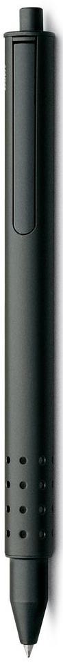 Lamy Swift Ручка-роллер 331 M66 черная цвет корпуса черный4001146LAMY swift (331) Чернильный роллер без колпачка. В этой модели единственный в своем роде дизайн соединен с инновативной функциональностью. 32 круглых отверстия не только оптически отделяют гладкий корпус от зоны хвата, но и не дают пальцам скользить при письме. Роллер пишет мягко и почти без нажима - подобно перьевой ручке, но прост в обращении, как шариковая, т.к. при письме чернила подаются на бумагу с помощью шарика на конце стержня. Инновативный кнопочный механизм активирует пишущий узел и одновременно утапливает клип внутрь корпуса. Таким образом, клип не мешает при письме. Когда стержень убирается внутрь, клип выдвигается наружу – теперь ручку можно прикрепить к карману пиджака или к обложке ежедневника. Полностью металлический корпус. Черный матовый лак. Используется со стержнем LAMY M66.Комплектация: подарочный футляр, гарантийная карточка, буклет. Дизайн: Вольфганг Фабиан История бренда Lamy насчитывает более 80-ти лет, а его философия заключается в слогане Дизайн. Сделано в Германии. Компания получила более 100 самых престижных дизайнерских наград. Все пишущие инструменты Lamy производятся на фабрике в Гейдельберге (Германия).