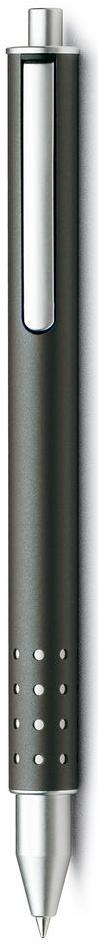 Lamy Swift Ручка-роллер 334 M66 черная цвет корпуса антрацит4001149LAMY swift (334) Чернильный роллер без колпачка. В этой модели единственный в своем роде дизайн соединен с инновативной функциональностью. 32 круглых отверстия не только оптически отделяют гладкий корпус от зоны хвата, но и не дают пальцам скользить при письме. Роллер пишет мягко и почти без нажима - подобно перьевой ручке, но прост в обращении, как шариковая, т.к. при письме чернила подаются на бумагу с помощью шарика на конце стержня. Инновативный кнопочный механизм активирует пишущий узел и одновременно утапливает клип внутрь корпуса. Таким образом, клип не мешает при письме. Когда стержень убирается внутрь, клип выдвигается наружу – теперь ручку можно прикрепить к карману пиджака или к обложке ежедневника. Полностью металлический корпус. Матовый лак цвета антрацит. Используется со стержнем LAMY M66.Комплектация: подарочный футляр, гарантийная карточка, буклет. Дизайн: Вольфганг Фабиан История бренда Lamy насчитывает более 80-ти лет, а его философия заключается в слогане Дизайн. Сделано в Германии. Компания получила более 100 самых престижных дизайнерских наград. Все пишущие инструменты Lamy производятся на фабрике в Гейдельберге (Германия).