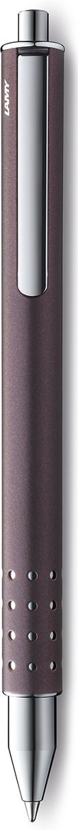 Lamy Swift Ручка-роллер 335 M66 черная цвет корпуса сиреневый4032078LAMY swift (335) Чернильный роллер без колпачка. В этой модели единственный в своем роде дизайн соединен с инновативной функциональностью. 32 круглых отверстия не только оптически отделяют гладкий корпус от зоны хвата, но и не дают пальцам скользить при письме. Роллер пишет мягко и почти без нажима - подобно перьевой ручке, но прост в обращении, как шариковая, т.к. при письме чернила подаются на бумагу с помощью шарика на конце стержня. Инновативный кнопочный механизм активирует пишущий узел и одновременно утапливает клип внутрь корпуса. Таким образом, клип не мешает при письме. Когда стержень убирается внутрь, клип выдвигается наружу – теперь ручку можно прикрепить к карману пиджака или к обложке ежедневника. Полностью металлический корпус. Сиреневый матовый лак. Используется со стержнем LAMY M66.Комплектация: подарочный футляр, гарантийная карточка, буклет. Дизайн: Вольфганг Фабиан История бренда Lamy насчитывает более 80-ти лет, а его философия заключается в слогане Дизайн. Сделано в Германии. Компания получила более 100 самых престижных дизайнерских наград. Все пишущие инструменты Lamy производятся на фабрике в Гейдельберге (Германия).