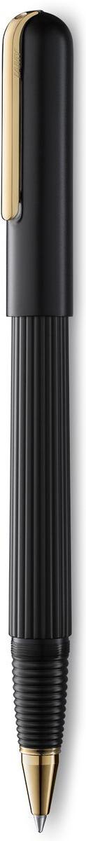 Визитной карточкой модельного ряда LAMY imporium является бороздчатая структура корпуса и хвата. Цилиндрический гладкий колпачок с цельнометаллическим полированным клипом создает яркий контраст поверхностей. Комбинация интересных деталей и минимализма придает этой серии очень оригинальный внешний вид. От пишущего узла до клипа при производстве используются первоклассные материалы. Металлические поверхности гальванизируются специальным PVD покрытием, увеличивающим износостойкость. Поворотный механизм активирует пишущий узел. Металлический корпус матового черного цвета. Завинчивающийся колпачок, гальванизированный золотом. Чернильный роллер пишет мягко и почти без нажима - подобно перьевой ручке, но прост в обращении, как шариковая, т.к. при письме чернила подаются на бумагу с помощью шарика на конце стержня. Используется со стержнями LAMY М66. Комплектация: подарочный футляр, гарантийная карточка, буклет, стержень LAMY М16 черного цвета, салфетка для полировки. Дизайн: Марио Беллини. История бренда LAMY насчитывает более 80-ти лет, а его философия заключается в слогане Дизайн. Сделано в Германии. Компания получила более 100 самых престижных дизайнерских наград. Все пишущие инструменты LAMY производятся на фабрике в Гейдельберге (Германия).