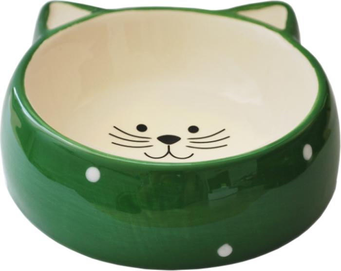 Миска для кошек №1 Горох, цвет: зеленый, 120 млМКР4016-3Керамическая миска для кошек. Проста в использовании, гигиенична и долговечна. Антибактериальные свойства. Не впитывает жир и запах. Нетоксична. Рассчитана на длительное активное использование.
