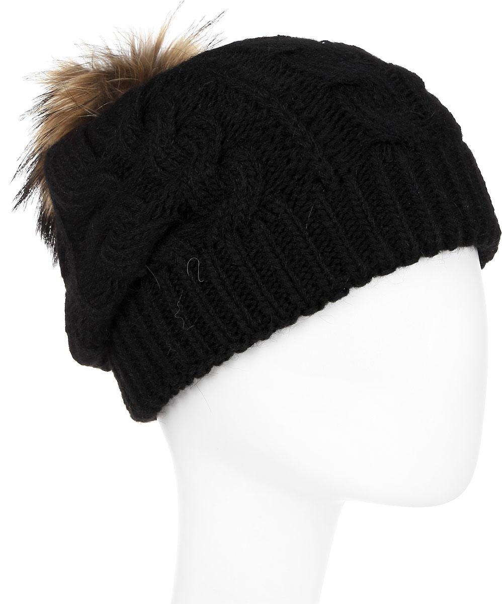 Шапка женская Paccia, цвет: черный. NR-21705-3. Размер 55/58NR-21705-3Вязаная женская шапка Paccia выполнена из акрила с добавлением шерсти и декорирована принтом из кос. Модель дополнена меховым помпоном. Эта шапка не только согреет в холодную погоду, но и стильно дополнит ваш образ.