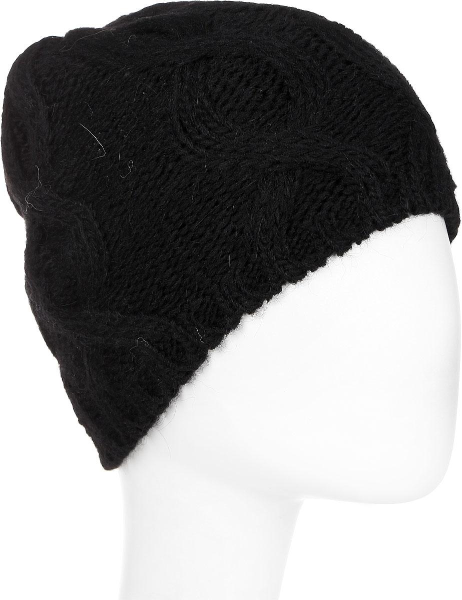 Шапка женская Paccia, цвет: черный. NR-21707-3. Размер 55/58NR-21707-3Вязаная женская шапка Paccia выполнена из акрила с добавлением шерсти и украшена принтом из кос. Модель имеет флисовую подкладку. Эта шапка не только согреет в холодную погоду, но и стильно дополнит ваш образ.