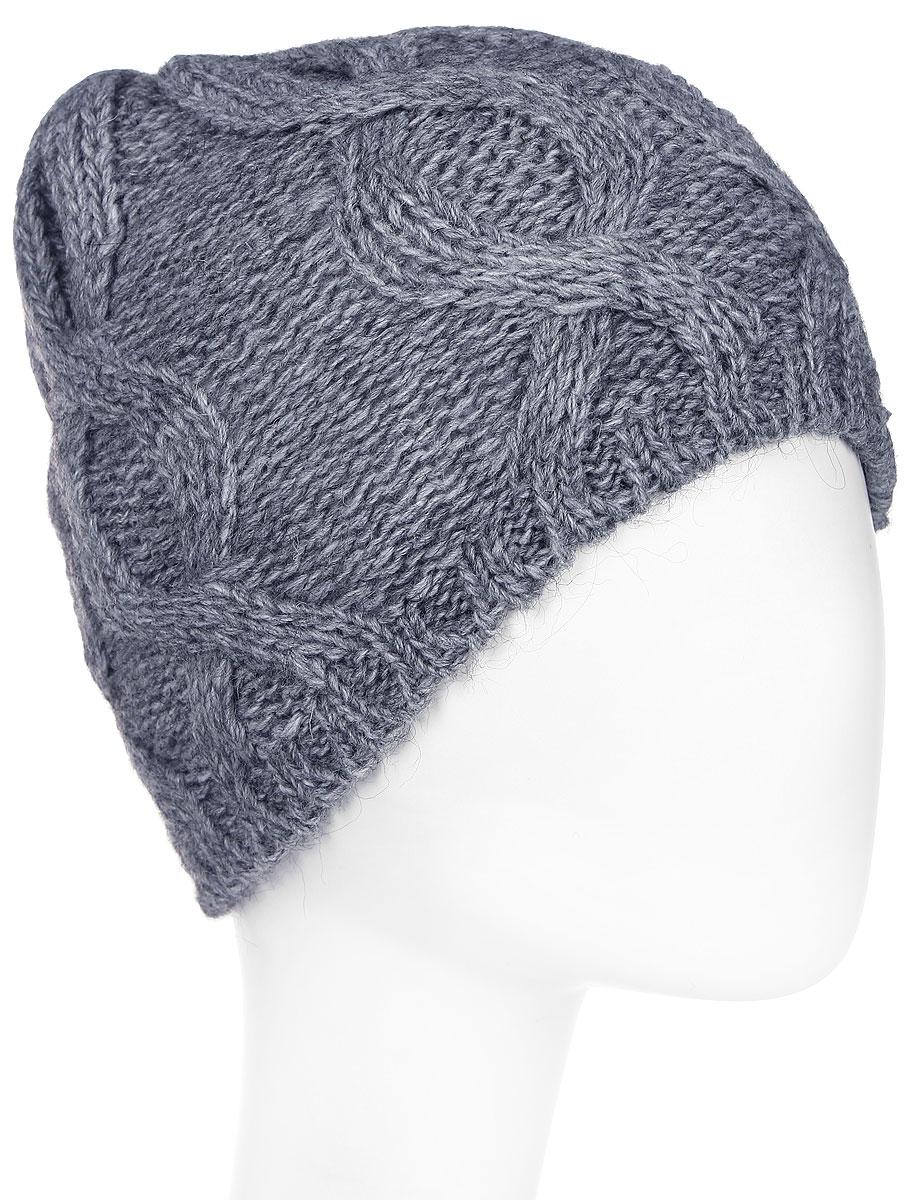 Шапка женская Paccia, цвет: серый. NR-21707-1. Размер 55/58NR-21707-1Вязаная женская шапка Paccia выполнена из акрила с добавлением шерсти и украшена принтом из кос. Модель имеет флисовую подкладку. Эта шапка не только согреет в холодную погоду, но и стильно дополнит ваш образ.